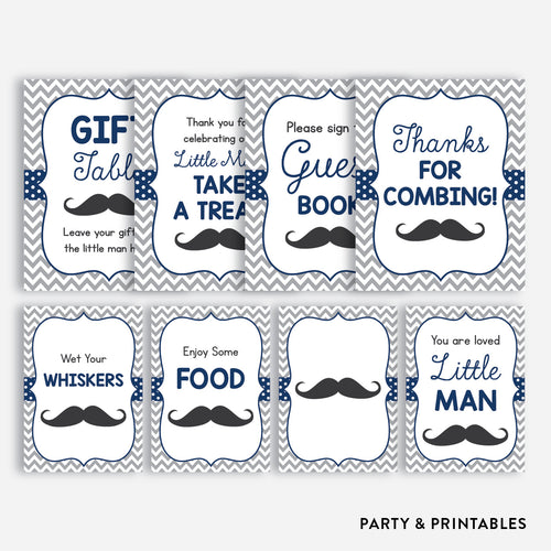 Mustache Party Signs / Non-Personalized / Instant Download (SBS.23)