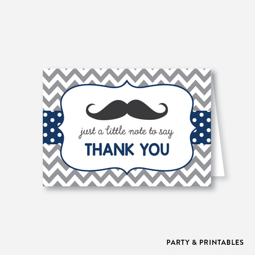 Mustache Baby Shower Thank You / Non-Personalized / Instant Download (SBS.23)