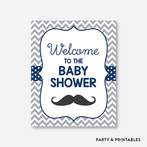 Mustache Welcome Sign / Non-Personalized / Instant Download (SBS.23)