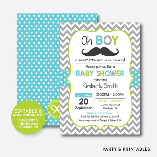 Mustache Baby Shower Invitation / Editable / Instant Download (SBS.25)