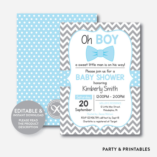 Bow Tie Baby Shower Invitation / Editable / Instant Download (SBS.26)
