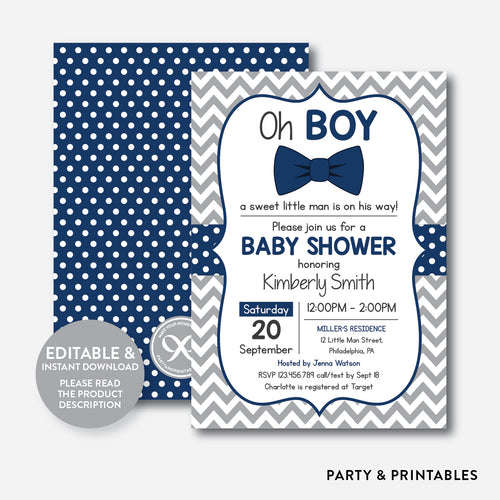 Bow Tie Baby Shower Invitation / Editable / Instant Download (SBS.27)