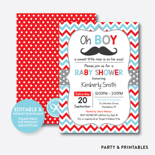 Mustache Baby Shower Invitation / Editable / Instant Download (SBS.28)