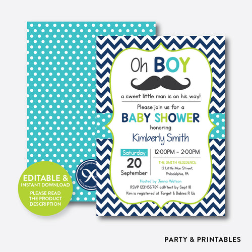 Mustache Baby Shower Invitation / Editable / Instant Download (SBS.29)