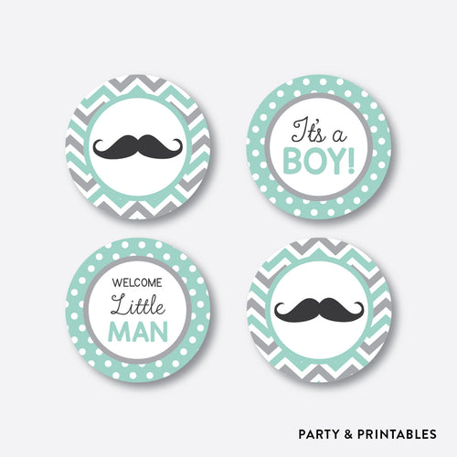 Mustache Cupcake Toppers / Non-Personalized / Instant Download (SBS.30)