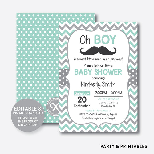 Mustache Baby Shower Invitation / Editable / Instant Download (SBS.30)