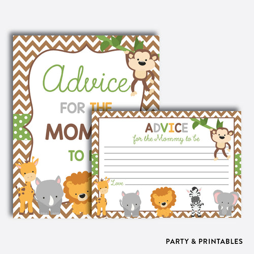 Baby Safari Advice For The Mommy To Be / Non-Personalized / Instant Download (SBS.31)