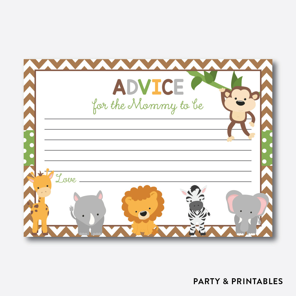 Baby Safari Advice For The Mommy To Be / Non-Personalized / Instant Download (SBS.31), party printables - Party and Printables