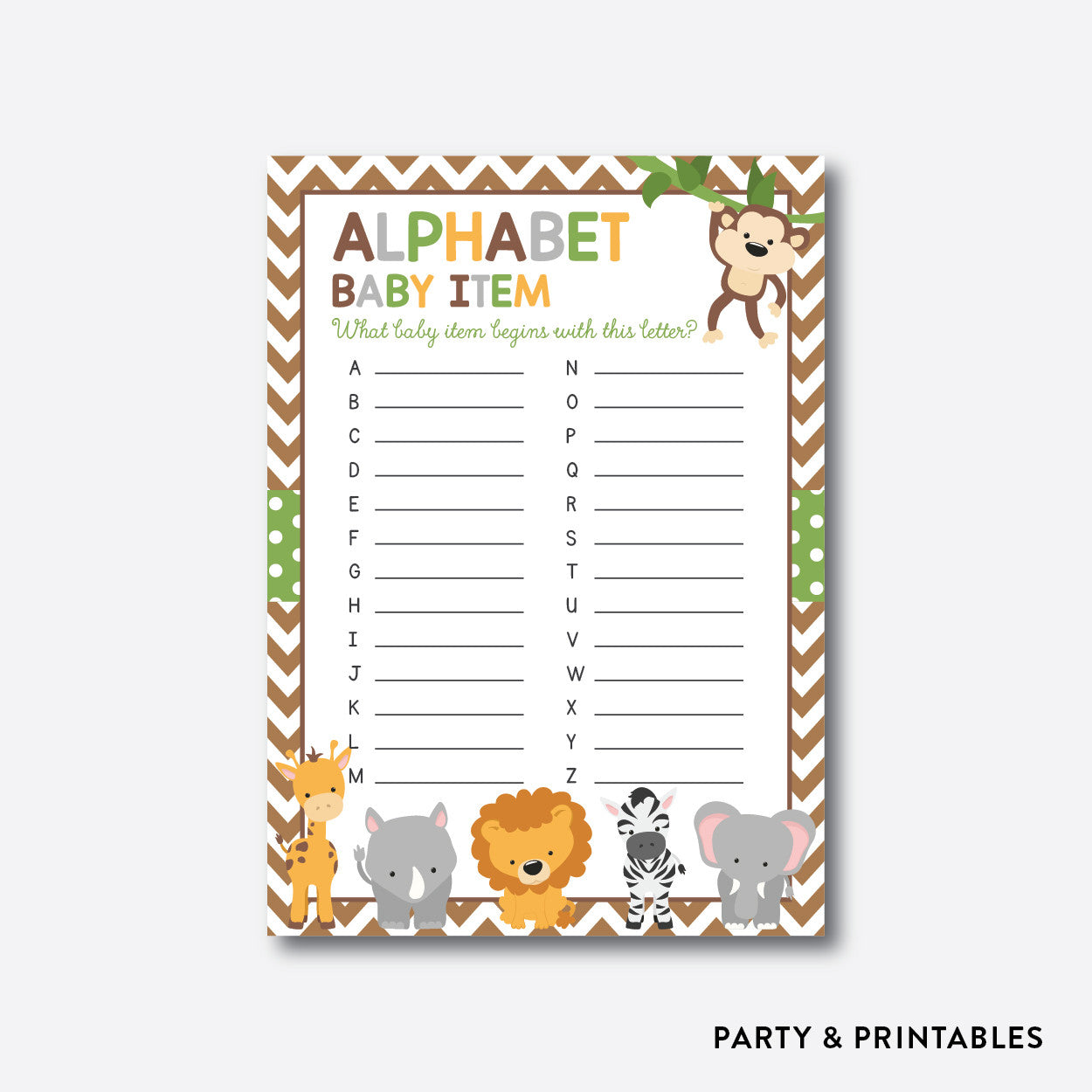 Baby Safari Alphabet Baby Item / Non-Personalized / Instant Download (SBS.31), party printables - Party and Printables