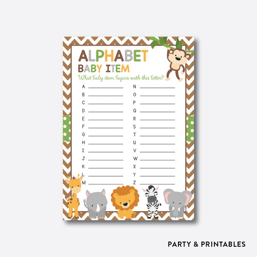 Baby Safari Alphabet Baby Item / Non-Personalized / Instant Download (SBS.31)