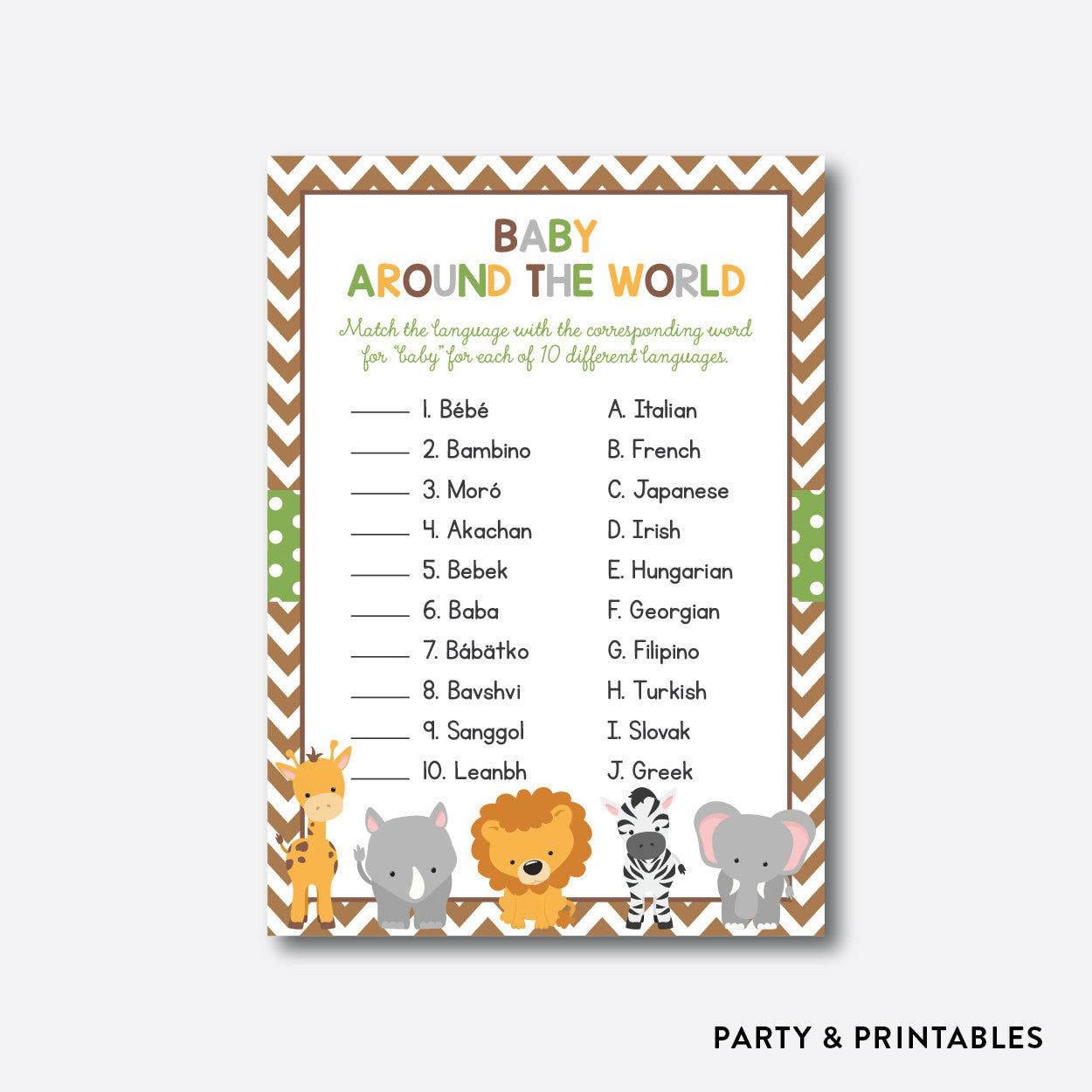 Baby Safari Baby Around The World / Non-Personalized / Instant Download (SBS.31), party printables - Party and Printables