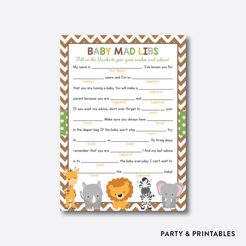 Baby Safari Mad Libs / Non-Personalized / Instant Download (SBS.31)