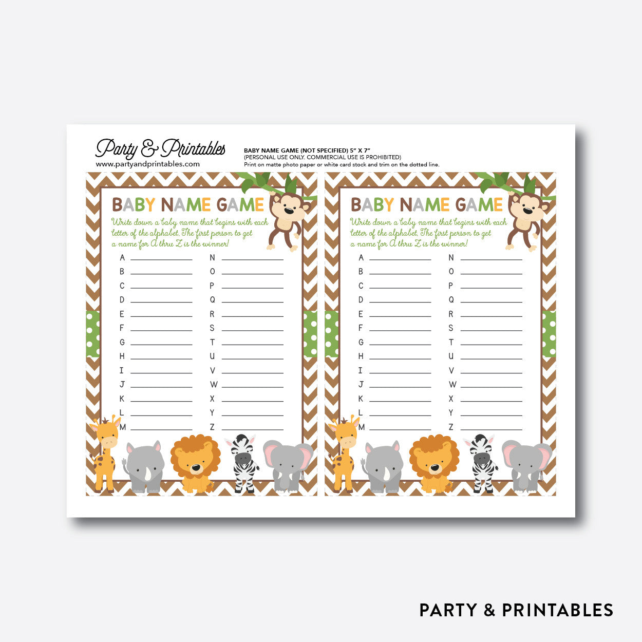 Baby Safari Baby Name Game / Non-Personalized / Instant Download (SBS.31), party printables - Party and Printables