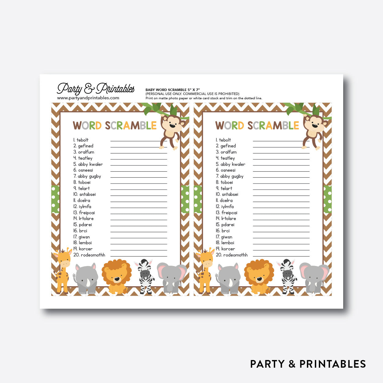 Baby Safari Baby Word Scramble / Non-Personalized / Instant Download (SBS.31), party printables - Party and Printables