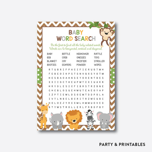 Baby Safari Baby Word Search / Non-Personalized / Instant Download (SBS.31)
