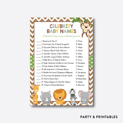 Baby Safari Celebrity Baby Names / Non-Personalized / Instant Download (SBS.31)