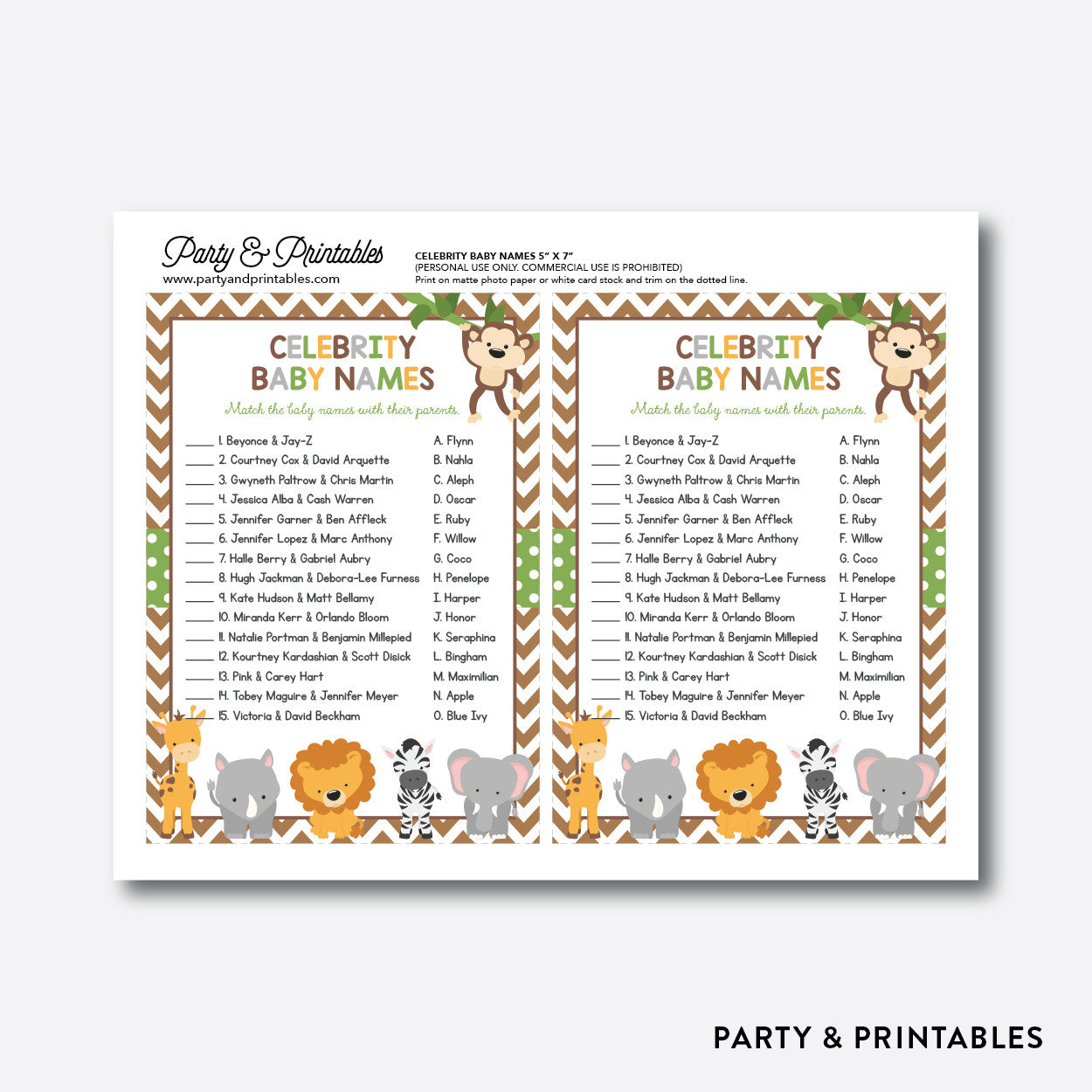 Baby Safari Celebrity Baby Names / Non-Personalized / Instant Download (SBS.31), party printables - Party and Printables