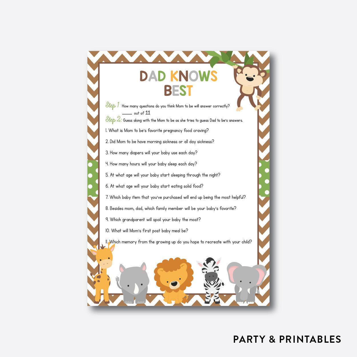 Baby Safari Dad Knows Best / Non-Personalized / Instant Download (SBS.31), party printables - Party and Printables
