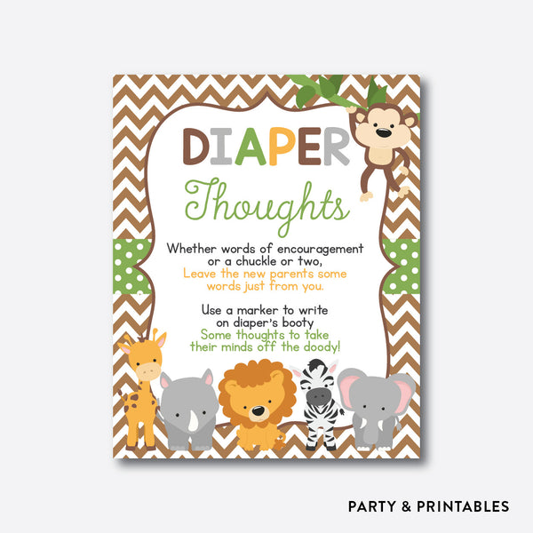 Baby Safari Diaper Thoughts / Non-Personalized / Instant Download (SBS.31), party printables - Party and Printables