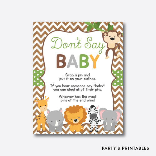 Baby Safari Don't Say Baby / Non-Personalized / Instant Download (SBS.31)
