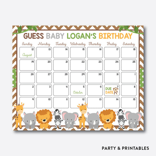 Baby Safari Due Date Calendar / Personalized (SBS.31)