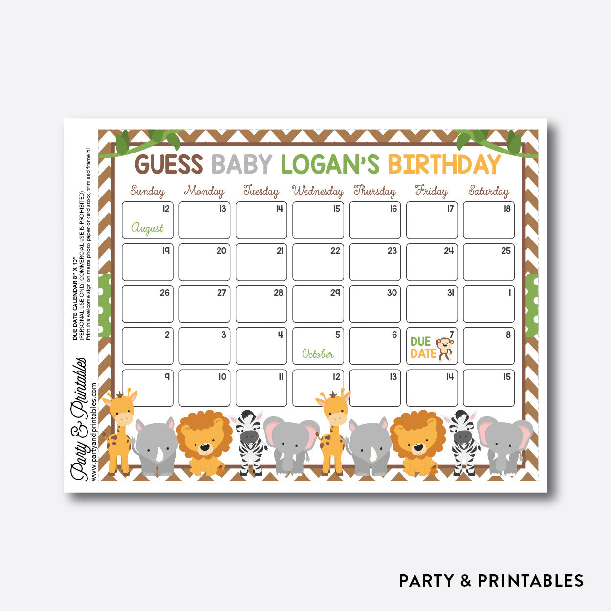 Baby Safari Due Date Calendar / Personalized (SBS.31), party printables - Party and Printables