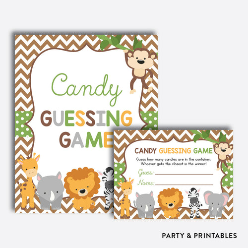 Baby Safari Guess How Many Candies / Non-Personalized / Instant Download (SBS.31)