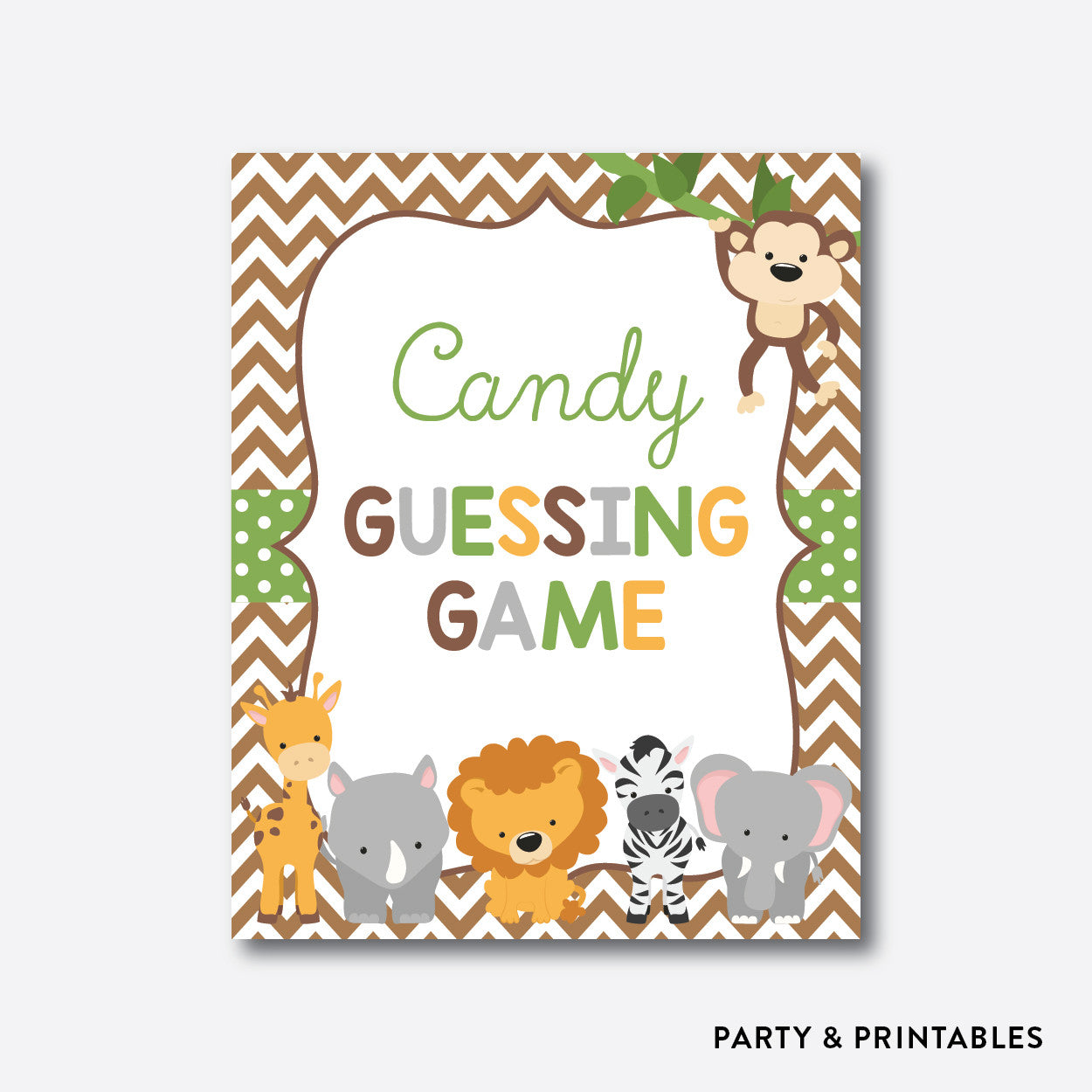 Baby Safari Guess How Many Candies / Non-Personalized / Instant Download (SBS.31), party printables - Party and Printables