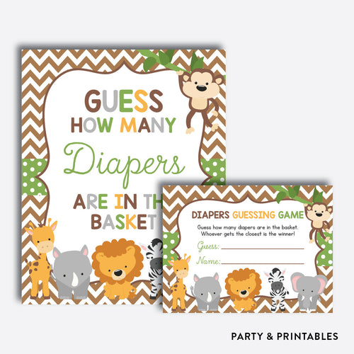 Baby Safari Guess How Many Diapers / Non-Personalized / Instant Download (SBS.31)