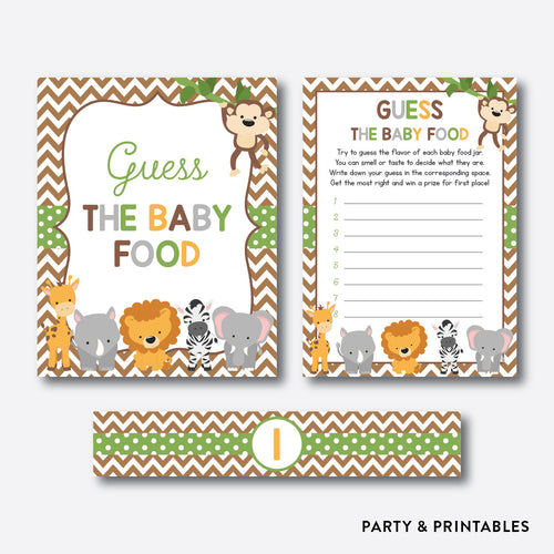 Baby Safari Guess The Baby Food / Non-Personalized / Instant Download (SBS.31)