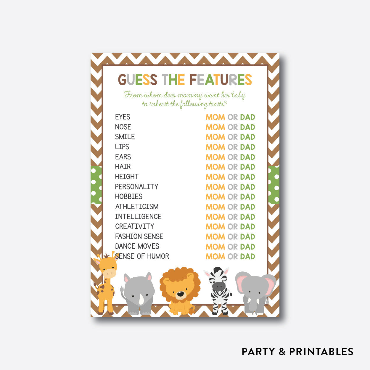 Baby Safari Guess The Features / Non-Personalized / Instant Download  (SBS 31)