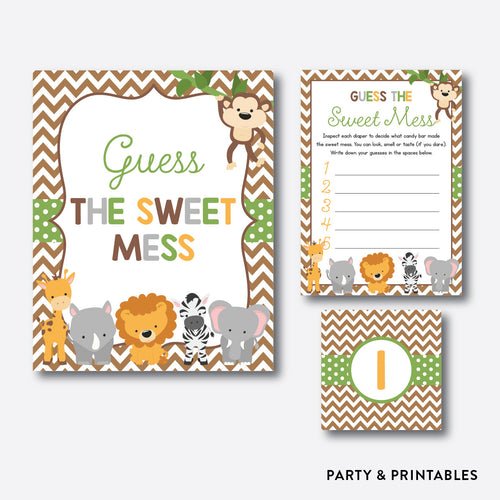 Baby Safari Guess The Sweet Mess / Non-Personalized / Instant Download (SBS.31)