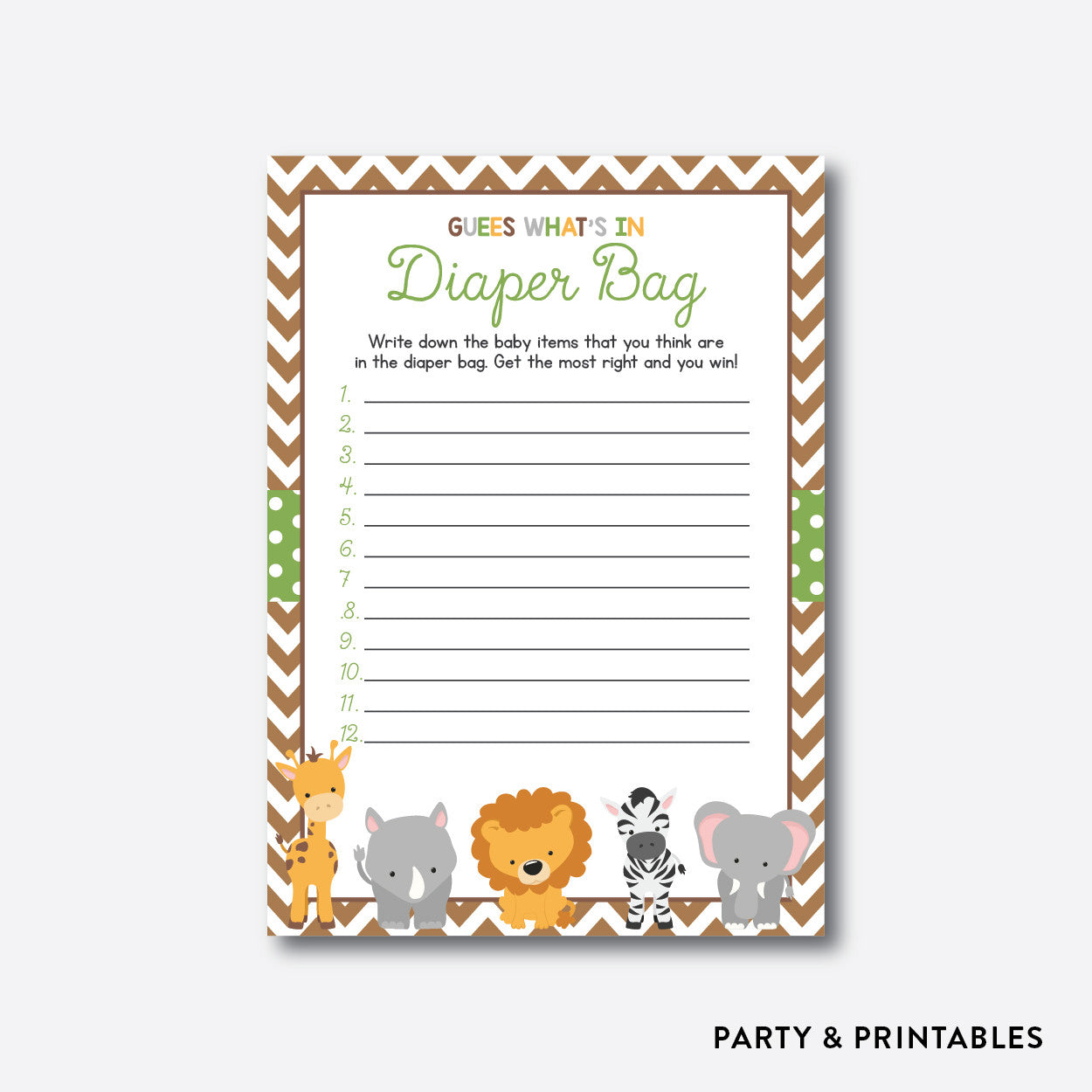 Baby Safari Guess What's In Diaper Bag / Non-Personalized / Instant Download (SBS.31), party printables - Party and Printables