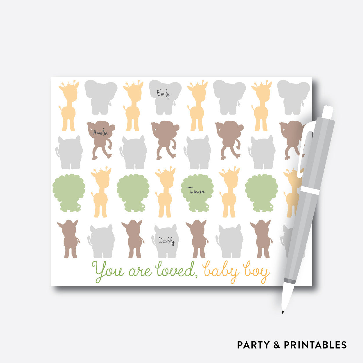 Baby Safari Guestbook Alternative / Non-Personalized / Instant Download (SBS.31), party printables - Party and Printables