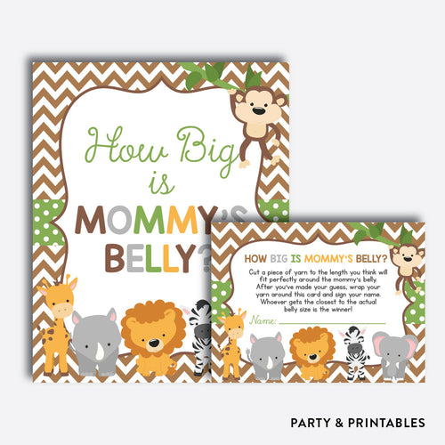 Baby Safari How Big is Mommy's Belly / Non-Personalized / Instant Download (SBS.31)