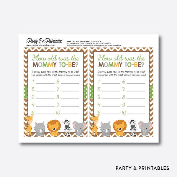 Baby Safari How Old Was Mommy To Be / Non-Personalized / Instant Download (SBS.31), party printables - Party and Printables