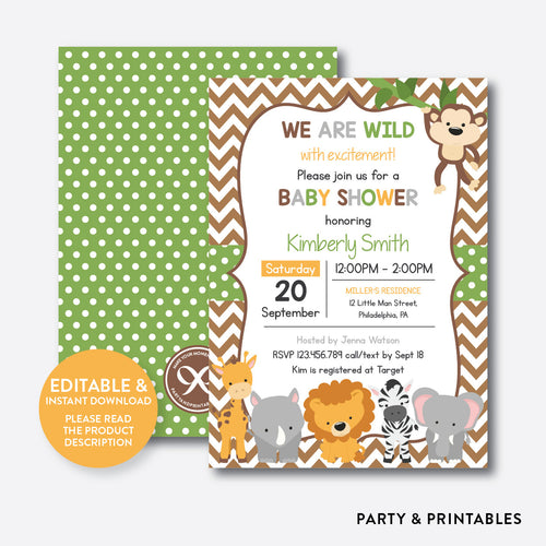 Baby Safari Baby Shower Invitation / Editable / Instant Download (SBS.31)