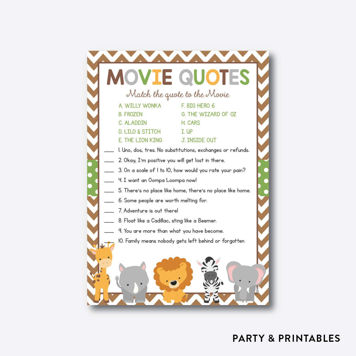 Baby Safari Movie Quotes / Non-Personalized / Instant Download (SBS 31)