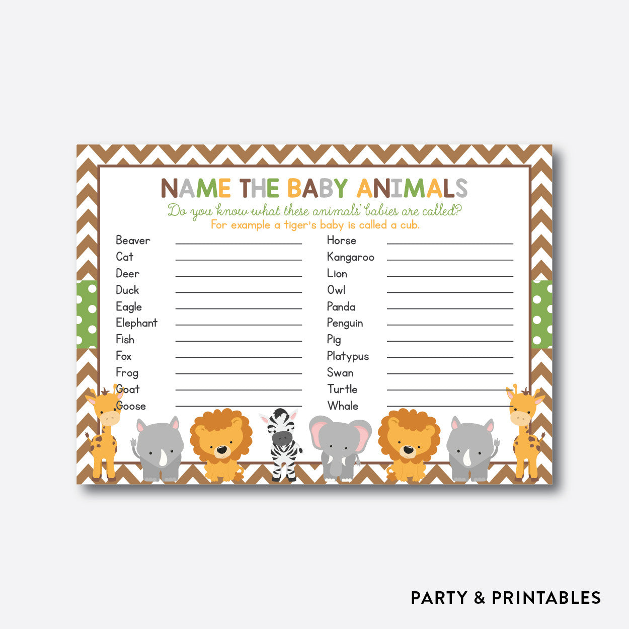Baby Safari Name The Baby Animals / Non-Personalized / Instant Download (SBS.31), party printables - Party and Printables