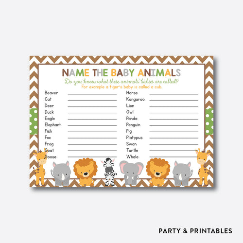 Baby Safari Name The Baby Animals / Non-Personalized / Instant Download (SBS.31)