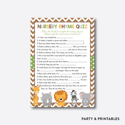 Baby Safari Nursery Rhyme Quiz / Non-Personalized / Instant Download (SBS.31)