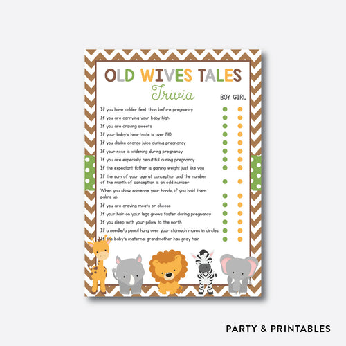 Baby Safari Old Wives Tales / Non-Personalized / Instant Download (SBS.31)