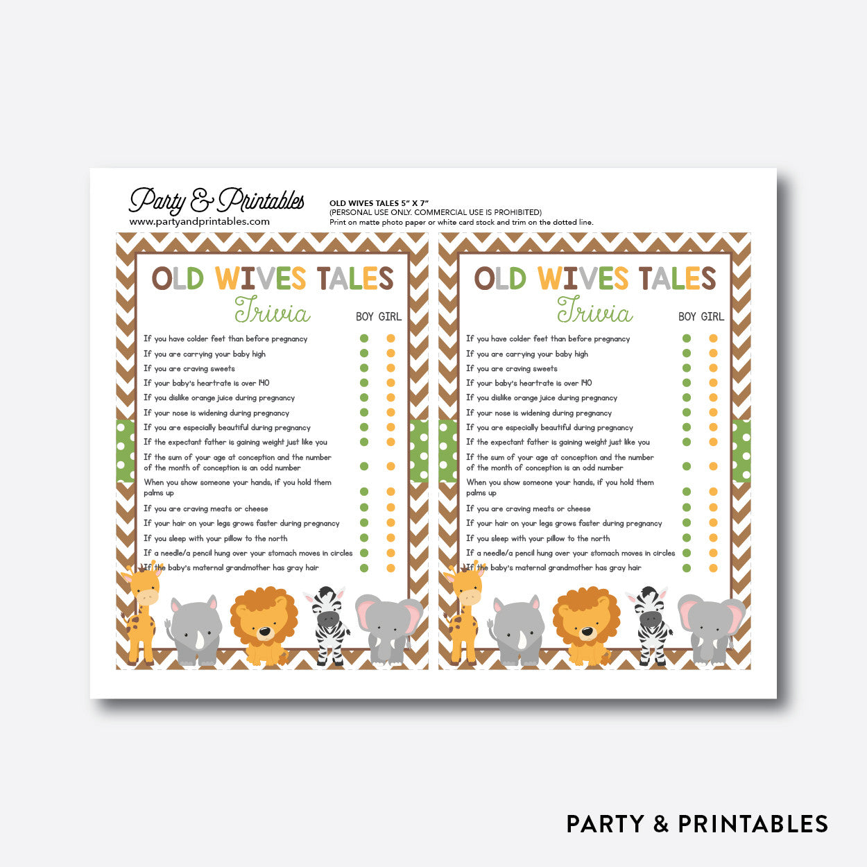 Baby Safari Old Wives Tales / Non-Personalized / Instant Download (SBS.31), party printables - Party and Printables
