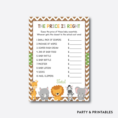 Baby Safari The Price is Right / Non-Personalized / Instant Download (SBS.31)