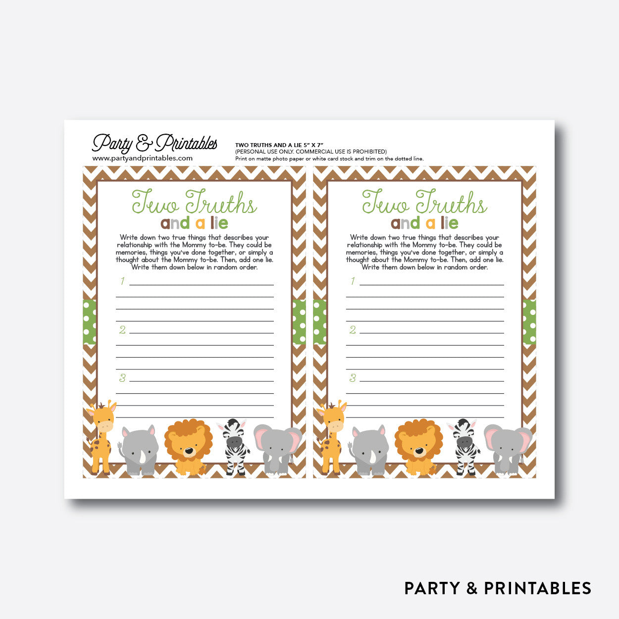Baby Safari Two Truths And A Lie / Non-Personalized / Instant Download (SBS.31), party printables - Party and Printables