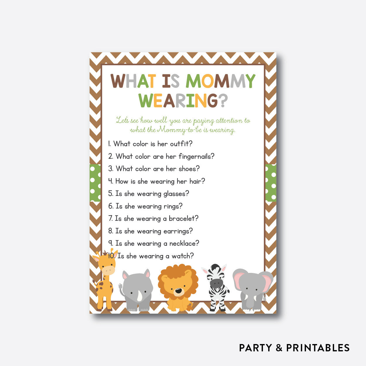 Baby Safari What Is Mommy Wearing / Non-Personalized / Instant Download (SBS.31), party printables - Party and Printables