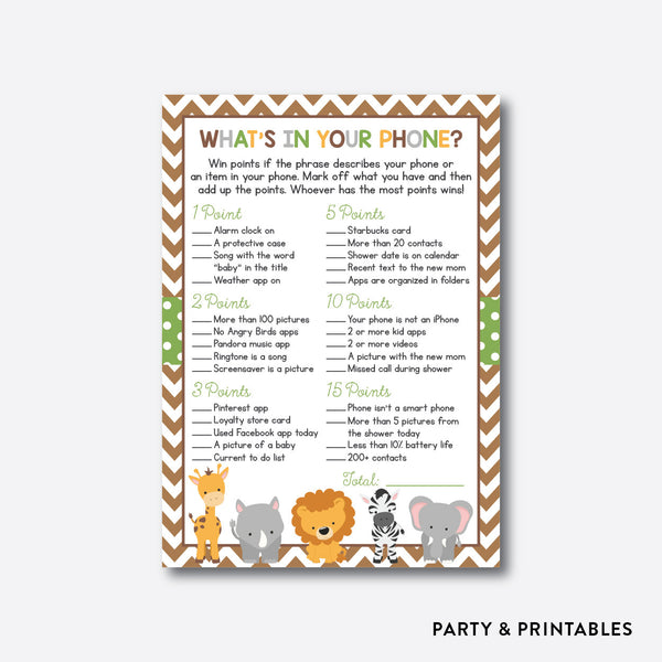 Baby Safari What's In Your Phone / Non-Personalized / Instant Download (SBS.31), party printables - Party and Printables