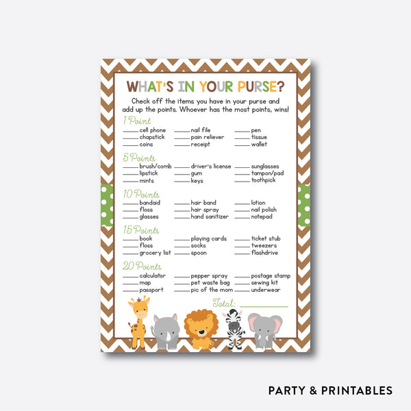 Baby Safari What's In Your Purse / Non-Personalized / Instant Download (SBS.31), party printables - Party and Printables
