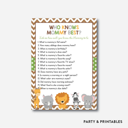 Baby Safari Who Knows Mommy Best / Non-Personalized / Instant Download (SBS.31)