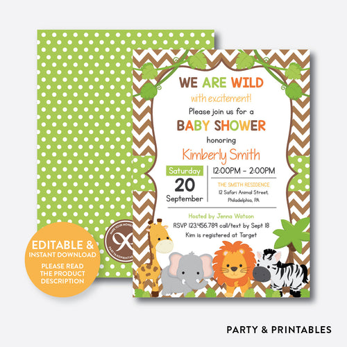 Wild Safari Baby Shower Invitation / Editable / Instant Download (SBS.32)